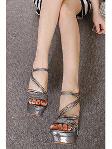 0155b1122ab 34% OFF  2019 Metallic Color Platform Stiletto Heel Sandals In ...