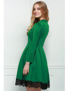 Lacework Stand Collar Flare Dress GREEN: Long Sleeve Dresses S | ZAFUL