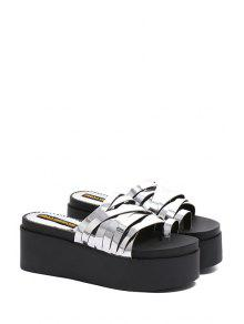 aa2b2f02b85 2018 Solid Color Toe Ring Platform Slippers In SILVER 39