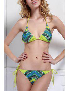 Halter Neck Color Block Plaid Print Bikini Set - M