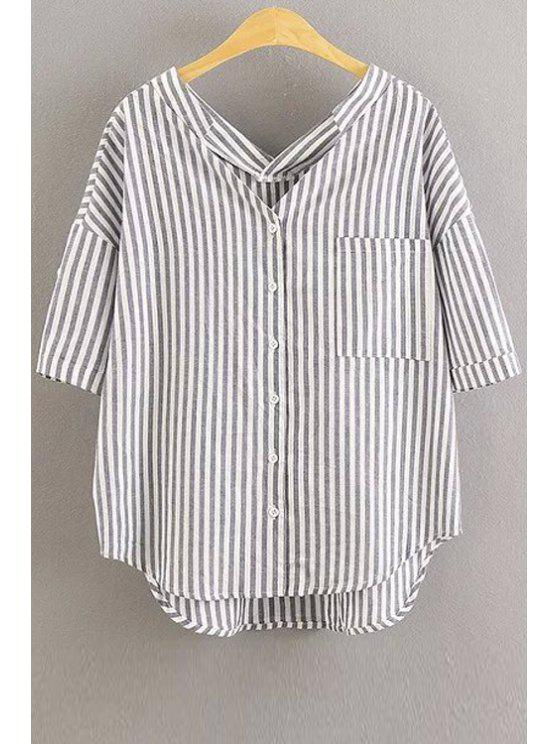sale Oversized Striped Pocket Blouse - WHITE M