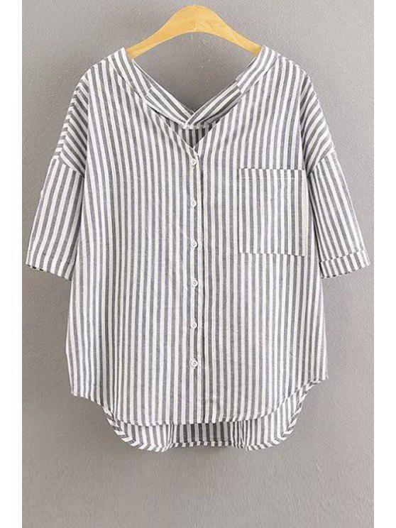 sale Oversized Striped Pocket Blouse - WHITE M
