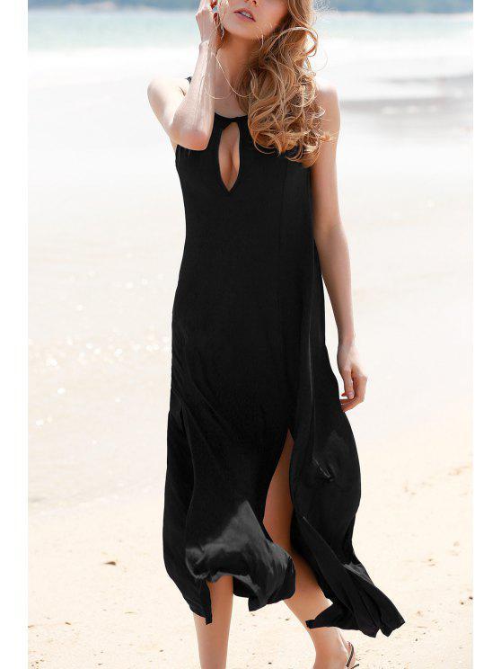 chic Keyhole Design Double Split Dress - BLACK L