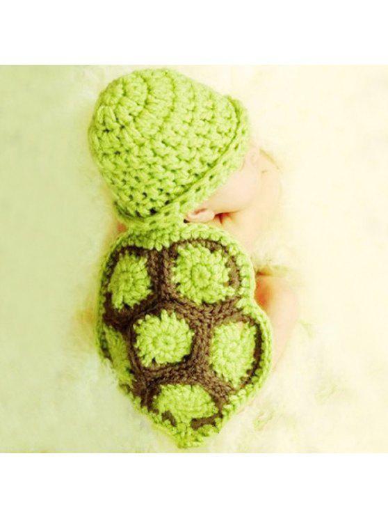 أزياء السلحفاة نمط اليدوية الكروشيه الحياكة قبعة قبعة الملابس مجموعة للطفل - أخضر
