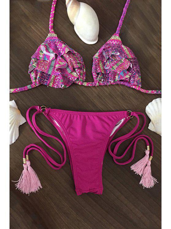 Imprimé bretelles spaghetti Flouncing Bikini String Set - Rose L
