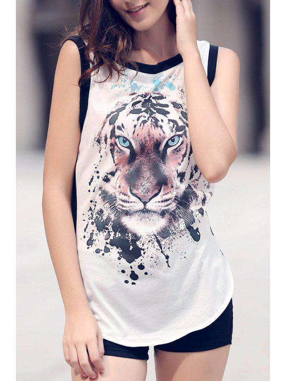 Animal Print Rodada Neck mangas Regatas - Branco M