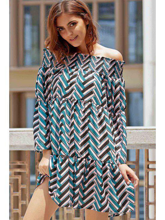 fancy Loose Wavy Print Flare Sleeve Off The Shoulder Dress - BLACK S