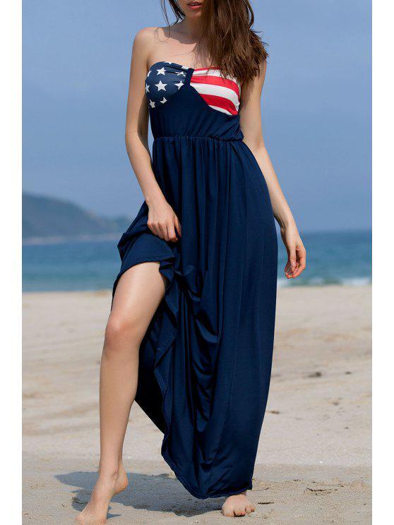 Imprimé bretelles ample Maxi Dress - Bleu M