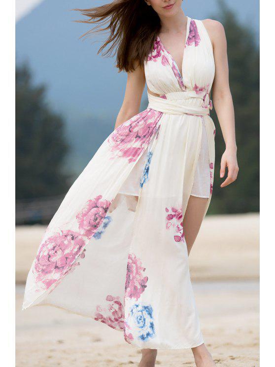 ladies High Slit Self-Tie Convertible Dress - BEIGE M