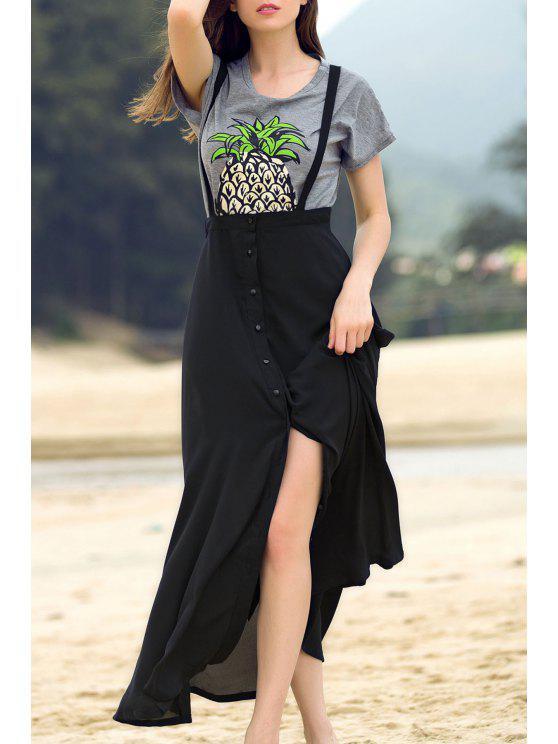women's Black Straps High Slit Skirt - BLACK M