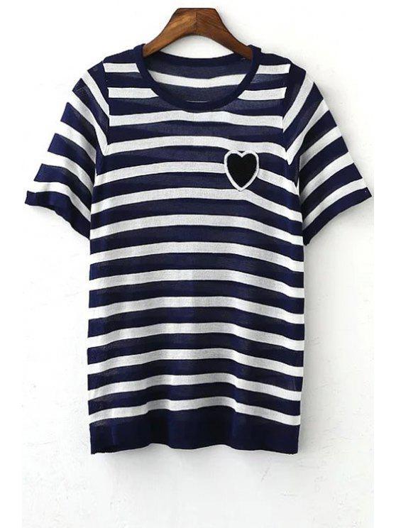Rayas de cuello redondo manga corta del corazón del bordado de la camiseta - Azul Purpúreo M
