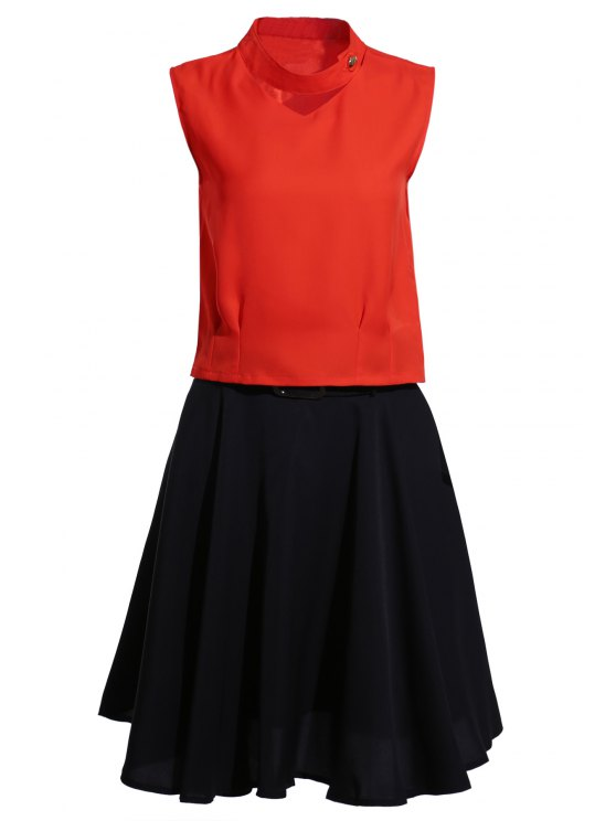 fashion Stand Neck Jacinth Top + Flared Skirt Twinset - BLACK AND ORANGE L