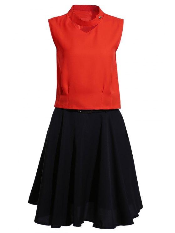 Tenez-Neck Jacinth Top + jupe évasée Twinset - Noir et Orange L