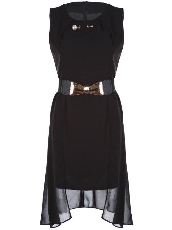 hot Faux Pearl Chiffon Belted Dress - BLACK 2XL