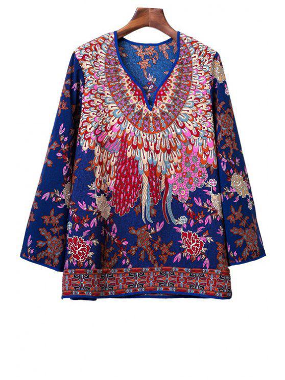 online Vintage Floral Print Peasant Top - BLUE M
