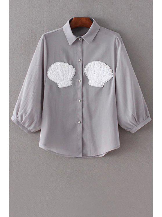 Bouton de perles Faux Chiffon Shirt - Gris M