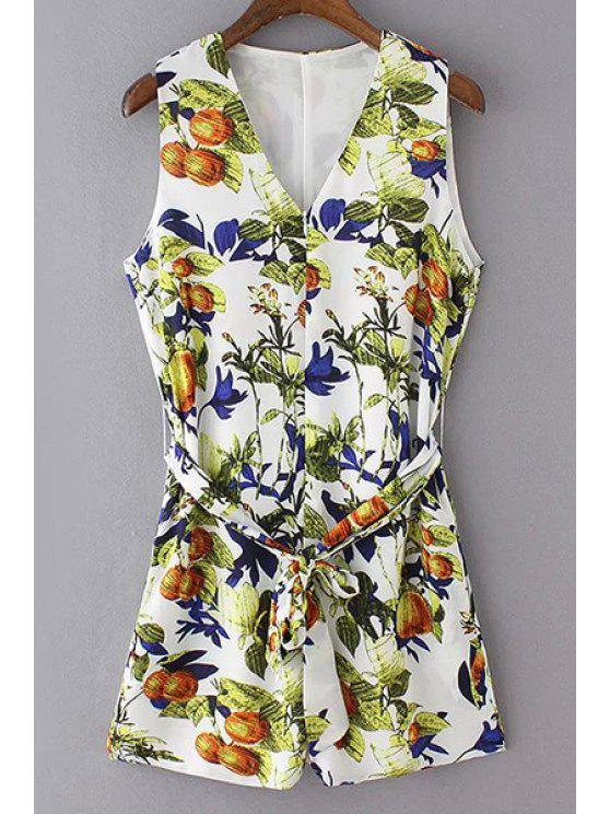 V-Neck Sleeveless Printed Romper - Blanc L