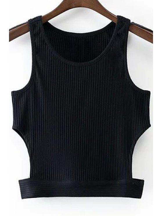 womens Black Round Collar Cut Out Cropped Tank Top - BLACK S