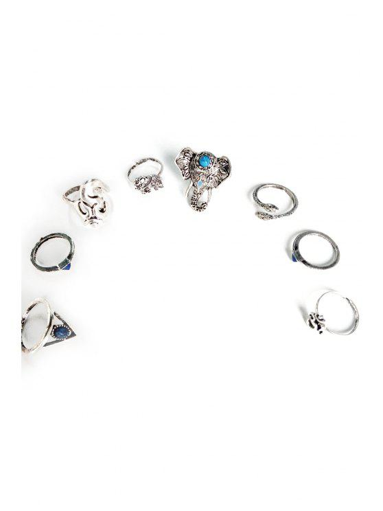 womens Elephant Head Ethnic Style Rings - SILVER