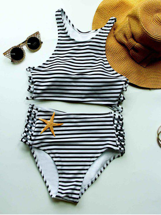 fashion Striped High Waisted Bikini with Crop Top - WHITE AND BLACK M