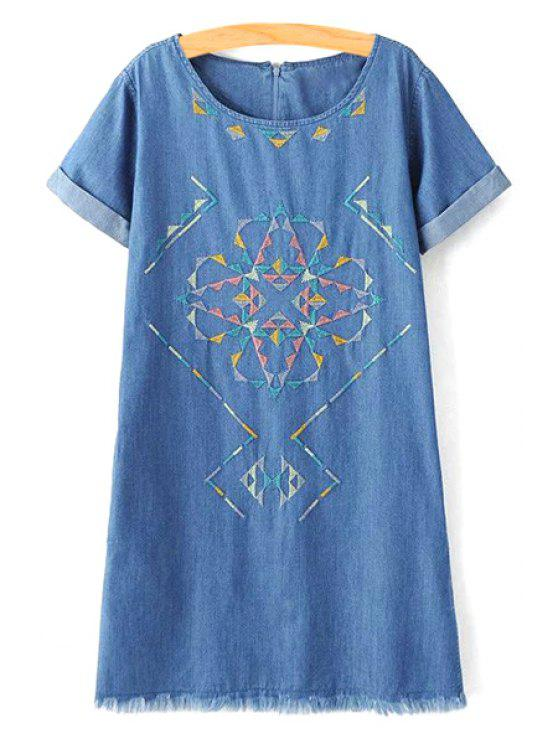 lady Rolled Sleeve Embroidered Straight Dress - BLUE L