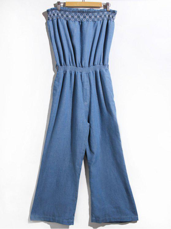 outfit Women's Stylish Strapless Denim Jumpsuit - BLUE L