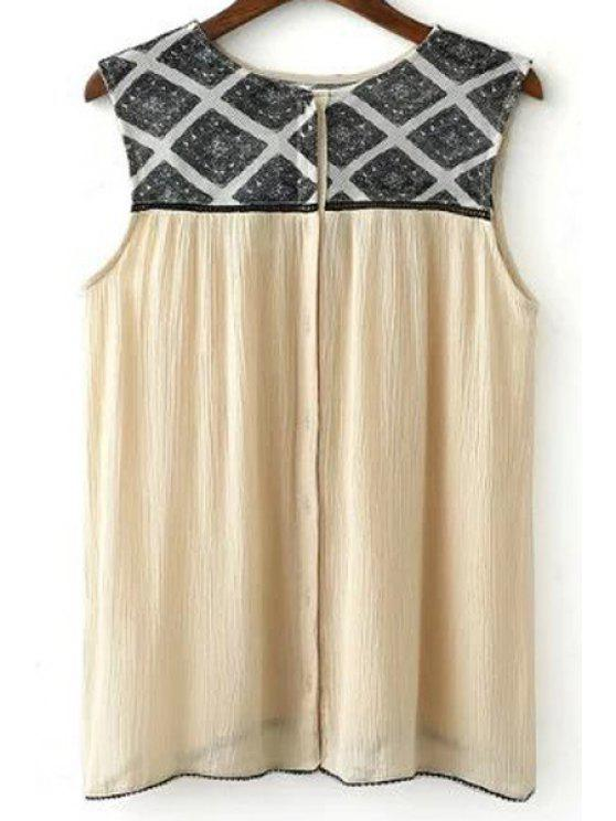 shop Geometric Pattern Flouncy Tank Top - LIGHT KHAKI L