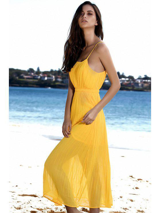 fashion Spaghetti Strap Pleated Yellow Dress - YELLOW M