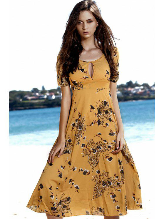 online Floral Butterfly Print Empire Waist Midi Dress - YELLOW M