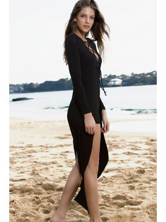 ladies Lucky Lace-Up Layered Romper - BLACK M
