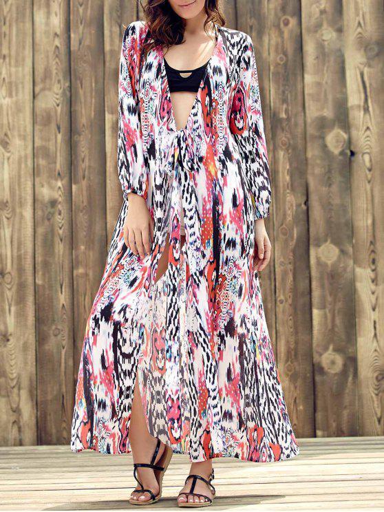 Vestito fiocco di stampa a maniche lunghe con scollo a tracolla etnica - colori misti S