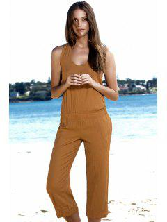 Sleeveless Low Back Capri Jumpsuit - Yellow Xl