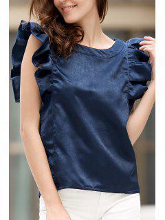 Jewel Neck Ruffles Deep Blue T-Shirt - Cadetblue 2xl