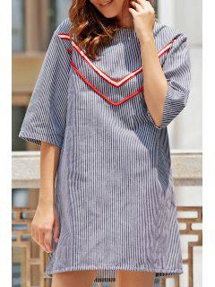 Stripe Round Neck 3/4 Sleeve Cut Out Dress - Stripe L