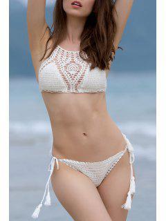High Neck Handwork Crochet Bikini Set - White