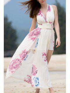 High Slit Self-Tie Convertible Dress - Beige L