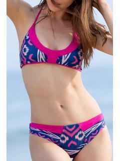 Printed Halter Bikini Set - Blue And Pink L