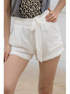 Pocket Et Bowknot Design Shorts En Mousseline De Soie - Blanc M