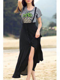 Black Straps High Slit Skirt - Black 2xl
