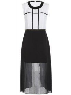 Zipper Waist Chiffon Dress - White And Black Xl