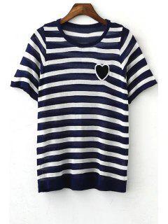 Striped Round Collar Short Sleeve Heart Embroidery T-Shirt - Purplish Blue M