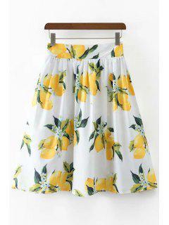 Lemon Print High Waisted A Line Skirt - White L