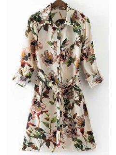 Floral Print Shirt Collar Long Sleeve Belted Shirt Dress - White L