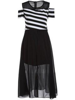 Striped Cutout En Mousseline De Soie Overlay Midi Dress - Blanc Et Noir 2xl