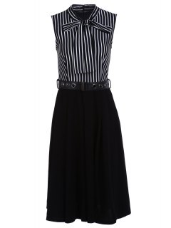 Bow-Tie Neck Striped Midi Dress With Belt - White And Black Xl