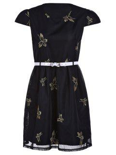 Butterfly Embroidered Dress With Belt - Black Xl