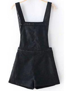 Pantalones Cortos Sólidos De Color Gamuza General - Negro 2xl