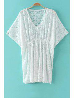 Openwork V-Neck Batwing Sleeve Lace Dress - White