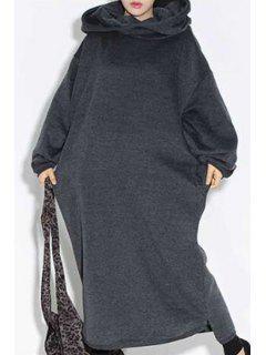 Deep Gray Hooded Long Sleeve Maxi Dress - Deep Gray