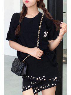 Rivet Black Irregular Hem Skirt - Black L